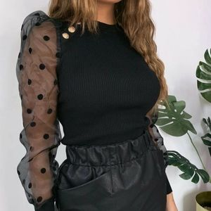 NWOT Black top mesh long sleeves with gold button